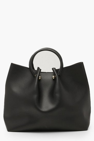Womens Black Structured Ring Handle Tote Bag