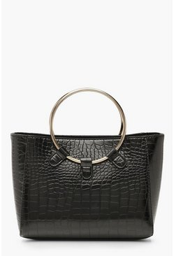 Womens Black Croc Metal Ring Mini Tote Bag