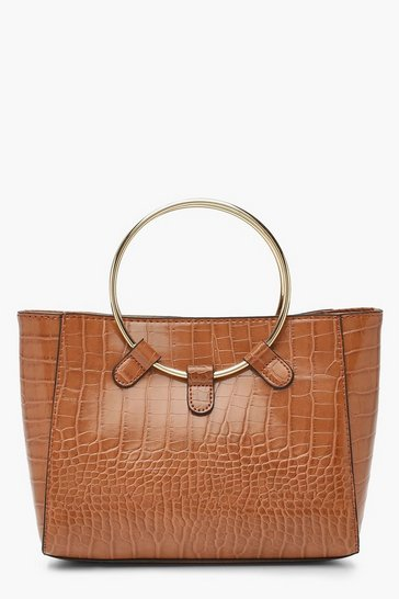 Womens Tan Croc Metal Ring Mini Tote Bag