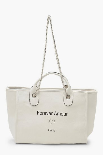 Womens White PU Chain Strap Day Bag