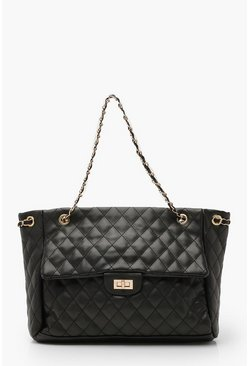 Womens Black Quilted Chain Handle Day Bag