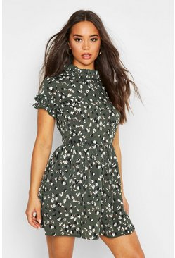 Green Leopard Print Ruffle Neck Skater Dress