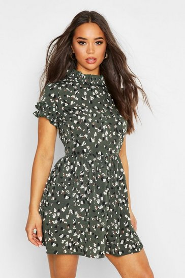 Womens Green Leopard Print Ruffle Neck Skater Dress