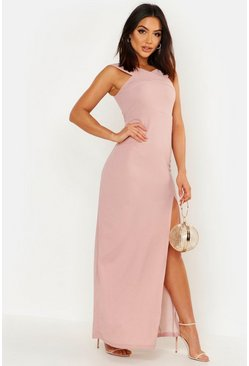 Womens Dusky pink Cross Front Split Maxi Dress