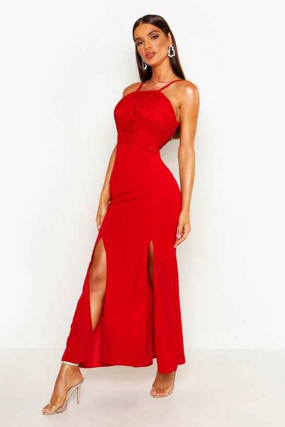 Womens Red Crochet Lace Detail Maxi Dress