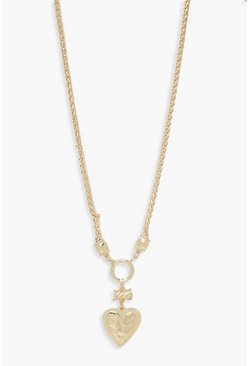 Womens Gold Heart & Chain Statement Necklace