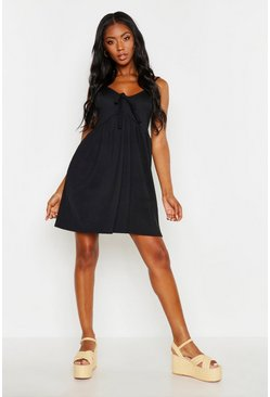 Womens Black Tie Front Strappy Sundress