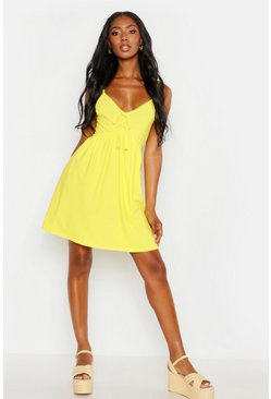 Womens Yellow Tie Front Strappy Sundress