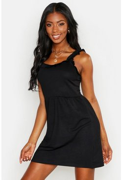 Womens Black Ruffle Detail Strappy Skater Dress