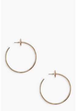 Womens Gold Circle Stud Hoop Earrings