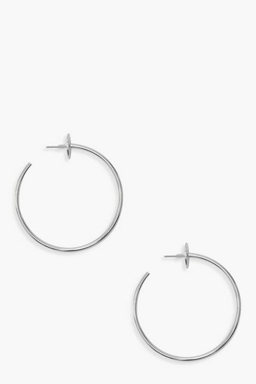 Womens Silver Circle Stud Hoop Earrings
