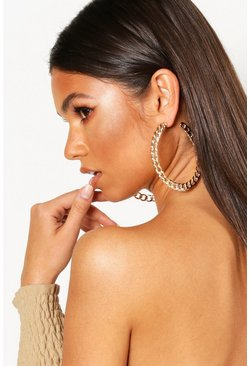 Dam Gold Oversized Flat Chain Hoop Earrings