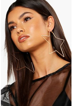 Womens Gold 11.5cm Oversized Star Hoop Earrings
