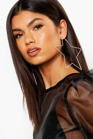 Womens Silver 11.5cm Oversized Star Hoop Earrings