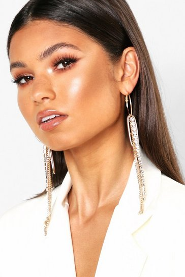Womens Gold Chain & Diamante Drop Hoop Earrings