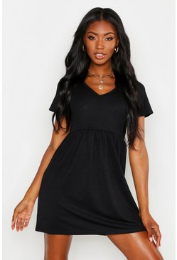 Womens Black Plunge Front Cap Sleeve Sundress