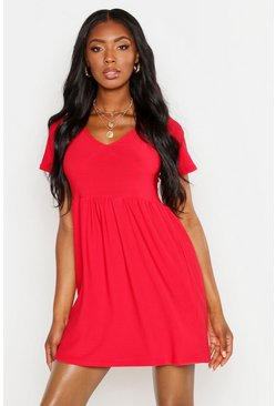 Womens Red Plunge Front Cap Sleeve Sundress