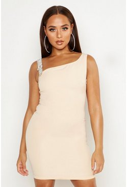 Womens Beige Diamante Buckle Strap Mini Dress