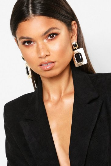 Womens Gold Black Stone Rectangle Earrings