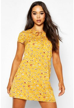 Womens Mustard Woven Floral Keyhole Shift Dress