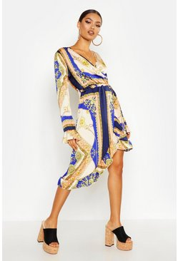 Womens Blue Chain Print Asymmetric Ruffle Hem Tea Dress