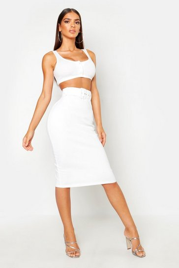 Womens White Self Belt Tapered Pencil Skirt