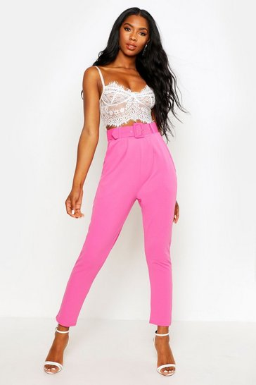 Womens Pink Self Belt Tapered Trouser