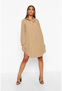 Camel Half Way Button Through Oversized Shirt Dress