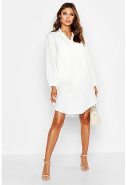 Womens White Half Way Button Through Oversized Shirt Dress