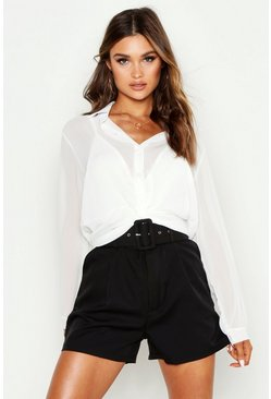 Womens White Twist Front Shirt