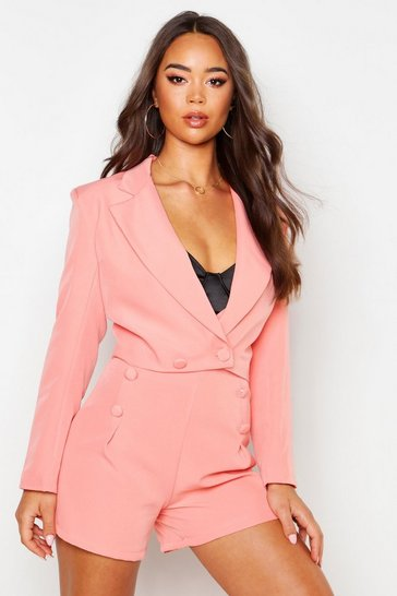 Womens Coral Cropped Covered Button Double Breasted Blazer