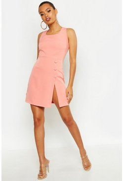 Coral Covered Button Detail Tailored Dress