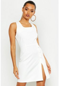 Womens White Covered Button Detail Tailored Dress