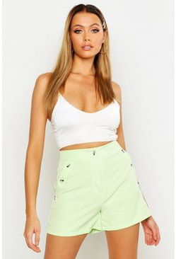 Womens Soft lime Horn Button Tailored Short