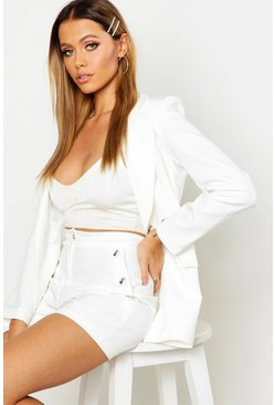 Womens White Horn Button Tailored Short
