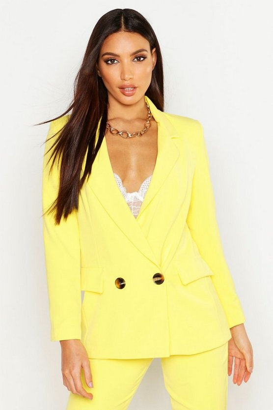 Womens Lemon Plunge Double Breasted Blazer