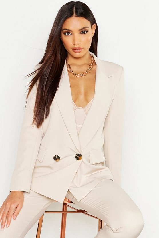 Womens Stone Plunge Double Breasted Blazer