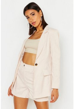 Womens Stone Cord Single Breasted Blazer