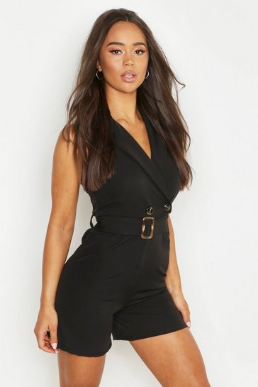 Womens Black Horn Buckle Tailored Playsuit