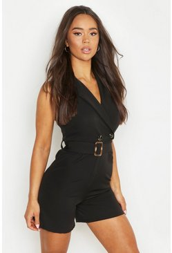 Womens Black Horn Buckle Tailored Romper