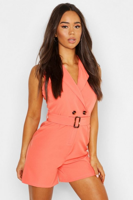 Womens Coral Horn Buckle Tailored Romper