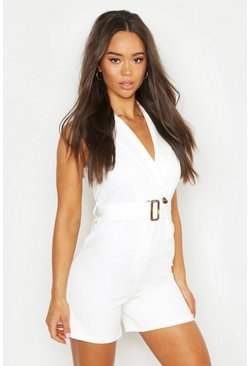 Womens Ivory Horn Buckle Tailored Playsuit