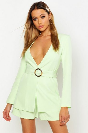 Womens Lime Collarless Belted Blazer