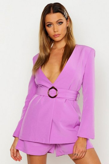 Womens Ultra violet Collarless Belted Blazer