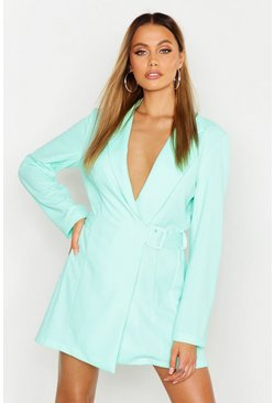 Womens Aqua Side Buckle Blazer Dress