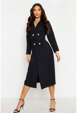 Womens Black Double Breasted Belted Blazer Dress