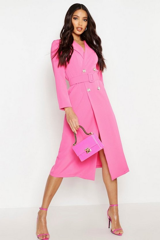 Womens Fuchsia Double Breasted Belted Blazer Dress