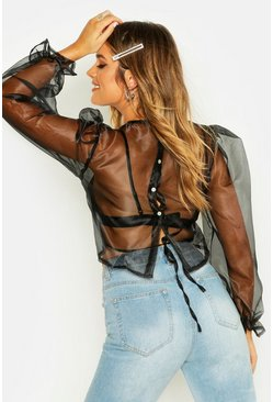 Womens Black Tie Back Detail Organza Blouse