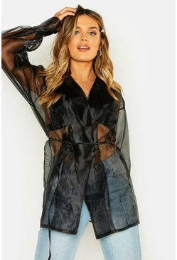 Womens Black Balloon Sleeve Tie Front Oversize Shirt