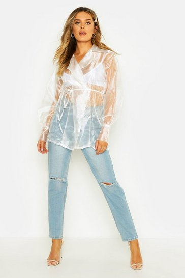 Womens White Balloon Sleeve Tie Front Oversize Shirt
